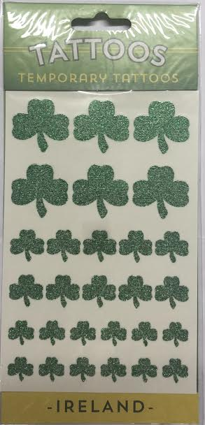 Shamrock sparkling Temporary tattoos.