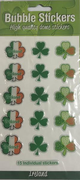 Shamrock Bubble Stickers.