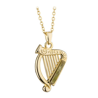 Harp Marble Pendant 18ct Gold plated S46526.