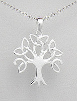 Tree of Life Pendant with Trinity Knots Sterling Silver with Chain
