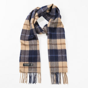 Scarf 100% Luxury Fine Merino Wool Navy Beige Brown Check 118