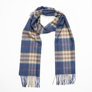 Scarf Fine Luxury Merino Wool. Blue Carmel and Rust Check. 144