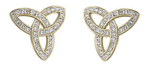 Trinity Knot gold Crystal Stud earrings
