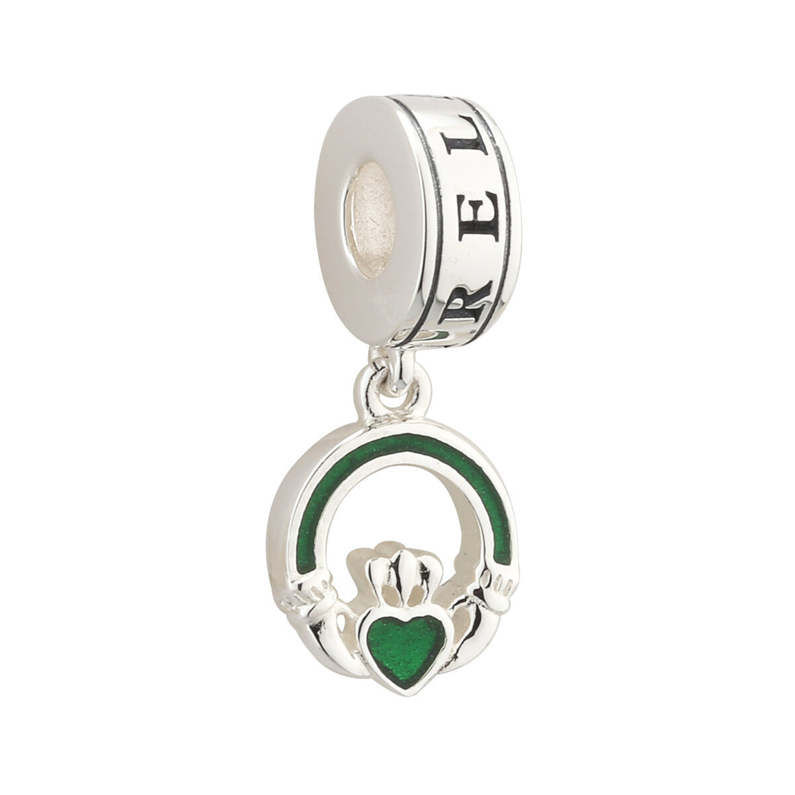 Charm Bead Dangle Claddagh Enamel and Sterling Silver S80369