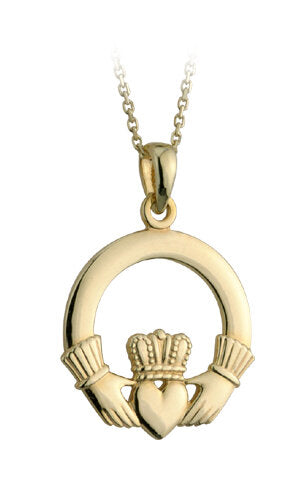 9K GOLD LARGE CLADDAGH PENDANT S4662.