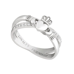 Claddagh Kiss Ring Cubic Zirconia Sterling Silver Ring