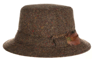 Walking Hat Donegal Tweed Brown Salt n Pepper.