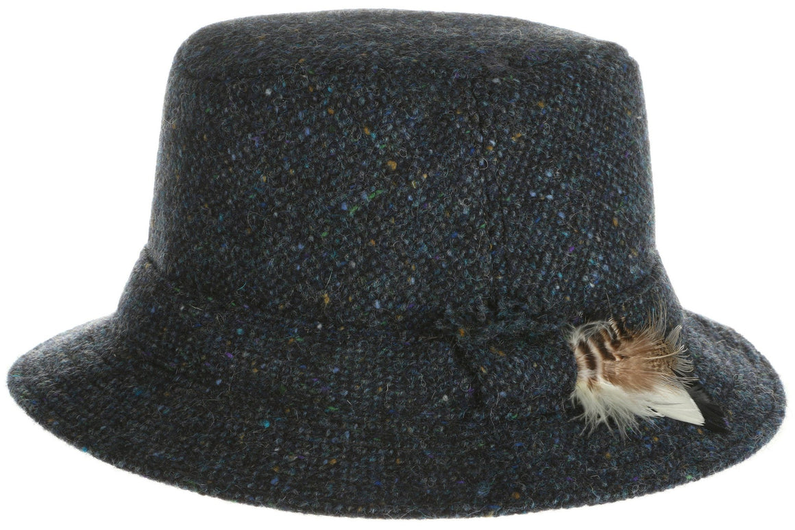Walking Hat Donegal Tweed Blue Salt n Pepper.