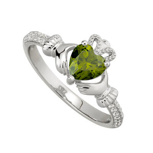Claddagh Sterling Silver Birthstone Ring August