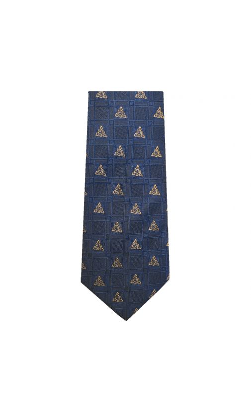 Navy Celtic Knot Silk Tie Patrick Francis Collection.