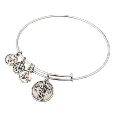Silver Tone Celtic Cross Bangle.  S5786