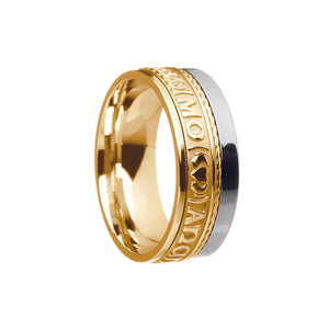 Mo Anam Cara 9ct white and yellow gold wedding Band