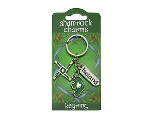 Keyring Three Charms, St Brigids Cross, Map of Ireland and Roadsign.