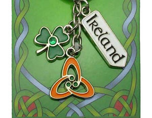 Keyring with Three charms, Shamrock, Trinity Knot and Ireland Road sign.