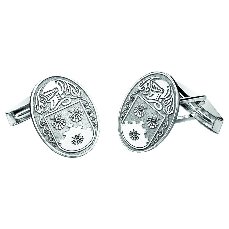 Personalised Coat of Arms large Sterling Silver Cuff Links.