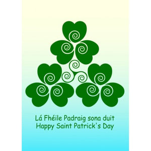 Happy Saint Patrick's Day Card Shamrock and Triple Spiral