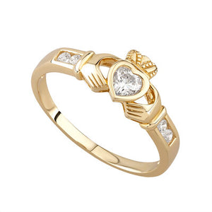 9ct Gold Emerald and Cubic Zirconia Claddagh Ring.