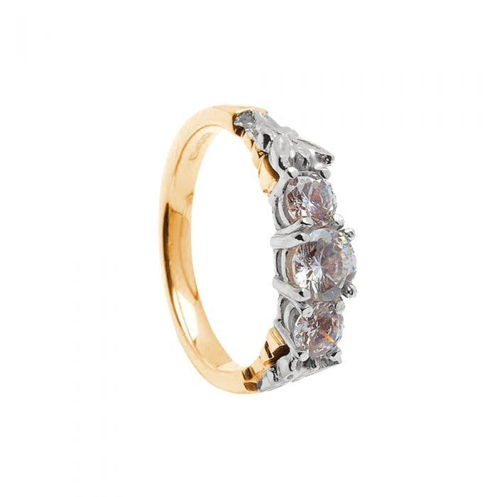 14k Gold Diamond Trinity Engagement Ring (Yellow or White Gold)