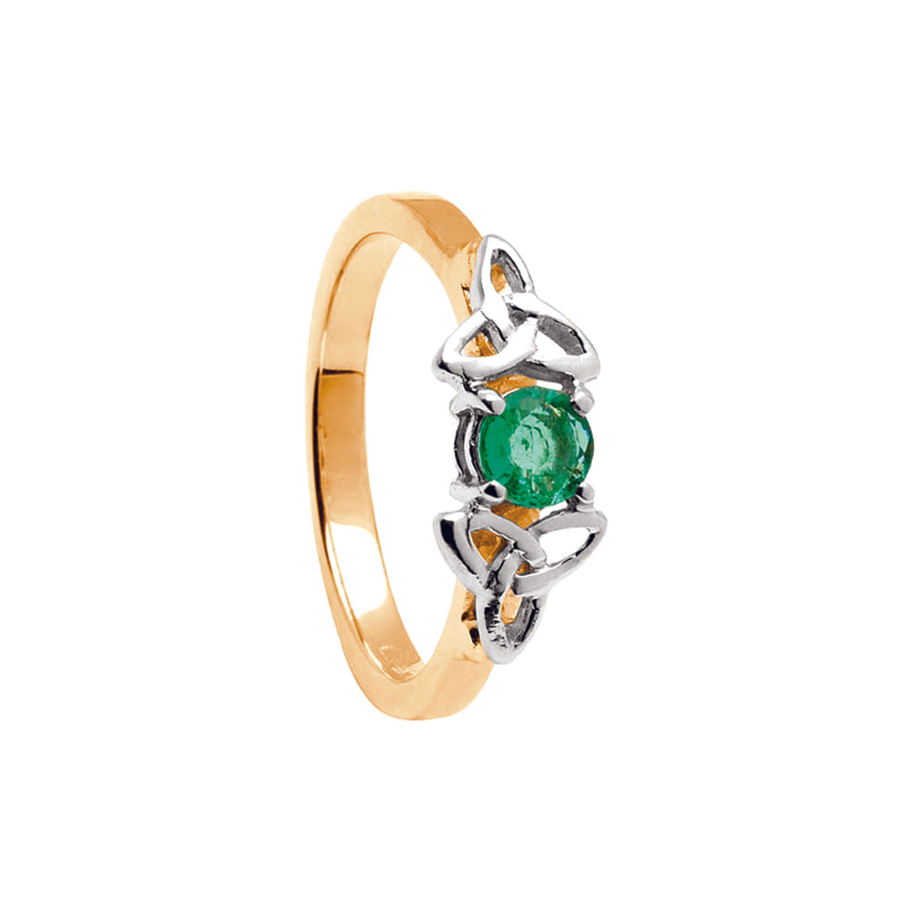 14k Yellow + White Gold Emerald Trinity Knot Engagement Ring