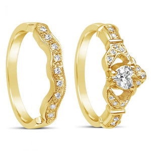Diamond Claddagh Band and Wedding Band Set 14k Yellow or White Gold
