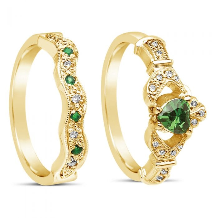 Diamond and Emerald Claddagh Ring and Wedding Band 14k Yellow or White Gold