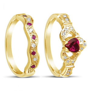 Diamond and Ruby Claddagh RIng and Wedding Band Set 14k Yellow or White Gold