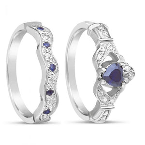 Diamond and Sapphire Claddagh Ring and Wedding Band 14k Yellow or White Gold