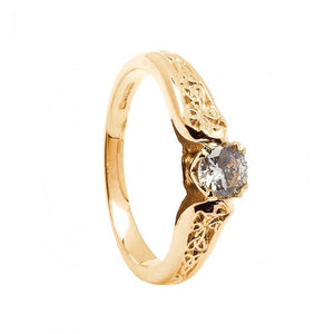 14k Gold Trinity Diamond Engagement Ring (Yellow or White)