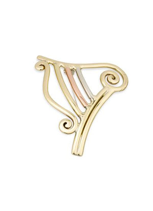 Celtic Harp Brooch Tri Coloured by Grange Celtic Jewellery