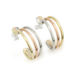 Tri Colour Hoop Earrings by Grange Celtic Jewellery.