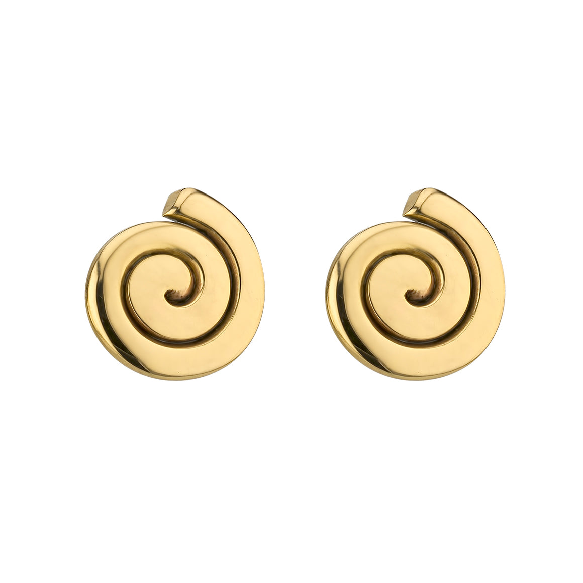 Gold Spiral Stud Earrings by Grange Celtic jewellery