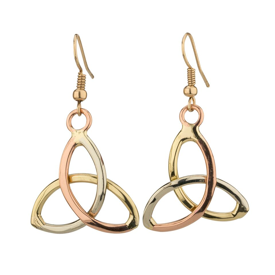 Tri Coloured Trinity Knot Earrings by Grange Celtic Jewellery