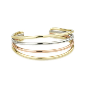 Tri Coloured Four Strand Bangle by Grange Celtic Jewellery.