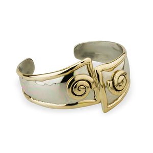 Two Tone Silver Celtic Spiral Bangle by Grange Celtic Jewellery.