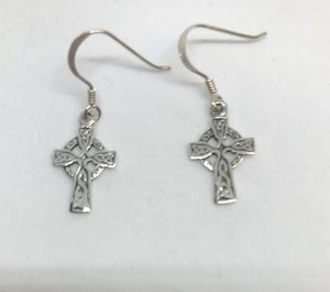 Celtic Cross Sterling Silver Drop Earrings