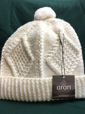 Ladies Aran Wool Hat - Knitted Ski Hat Beanie