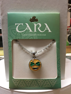 Irish Shamrock Eyes Emoji Pendant