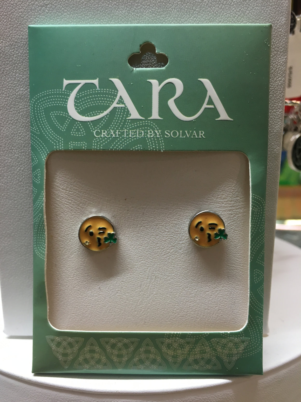 Irish Emoji Kissing Shamrock Earring