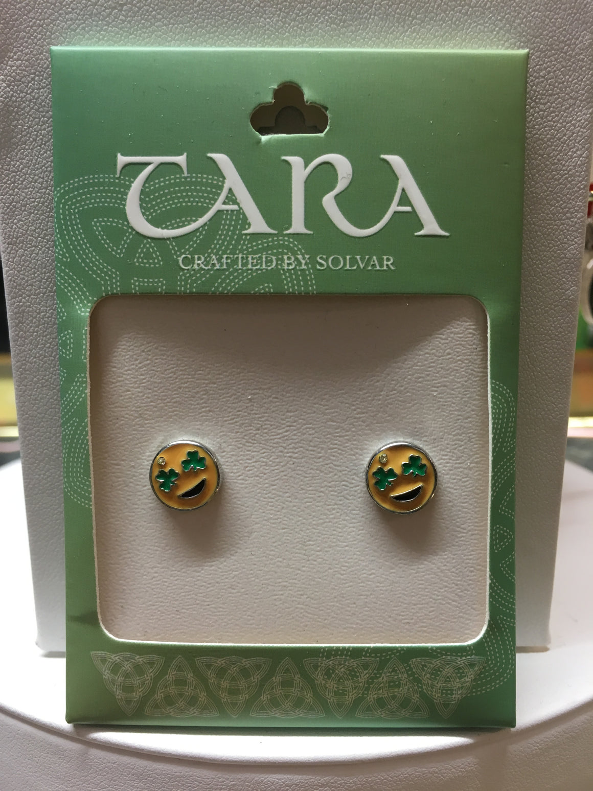Irish Emoji Shamrock Eyes Earring
