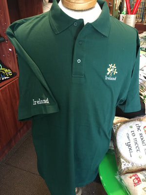 Polo Shirts Cotton Green with Shamrock Design
