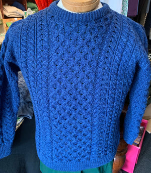 Aran Jumper (sweater) Blue Merino Wool A823