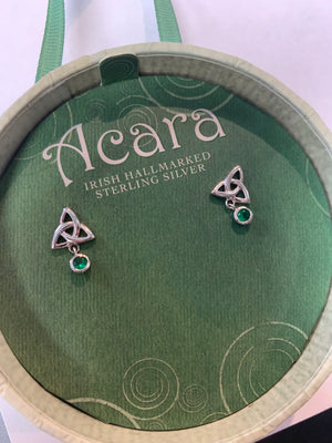 Acara Sterling Silver Trinity Knot Green Earrings