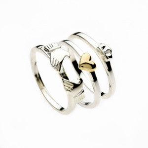Claddagh Stack Ring Sterling Silver