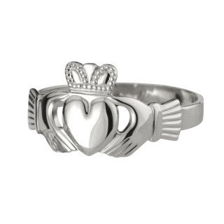 Claddagh Ring 9ct White Gold Men's Heavy S2549