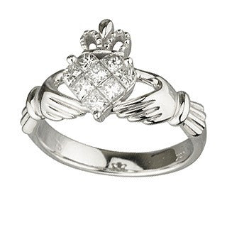 Claddagh Ring 14ct White Gold and Diamonds
