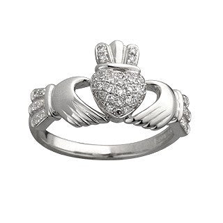 Claddagh Ring 14ct White Gold with 0.25ct Diamonds S2769