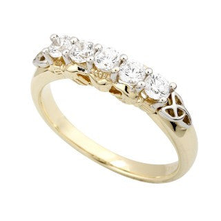Claddagh and Trinity Knot Eternity Ring 14ct Gold with 5 Diamonds