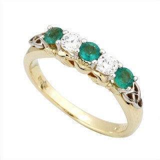 Claddagh Eternity Ring 14ct Gold with 2 Diamonds and 3 Emeralds S2916