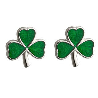 Shamrock Stud Earrings Green Enamel Sterling Silver Medium S3147