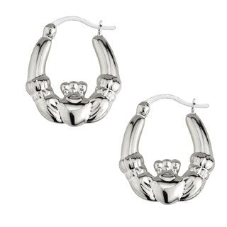 Claddagh Hoop Earrings Sterling Silver Small S3526